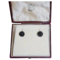 Antique 15ct Lg Faceted Onyx Earrings