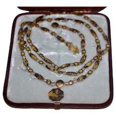 "14K  Marked 48"" Necklace & Bracelet Damasscene Shakudo w Poem Etched Reverse"