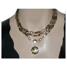 "14K Marked 48"" Necklace & Bracelet Damasscene Shakudo w Poem Etched Reverse"