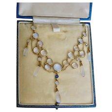 Antique Blue Schiller Sapphire 15ct Necklace