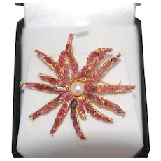 Lg Ruby Cultured Pearl Anemone Pin Brooch