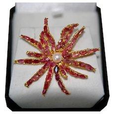 Ruby Anemone Star Pin Brooch w Cultured Pearl
