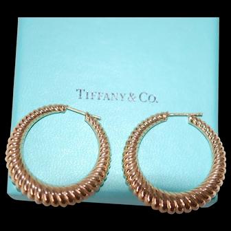 Vintage Tiffany 14K YG Post Hoop Earrings, Hallmarked
