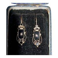 Antique 12K Onyx Earrings w Natural Pearl