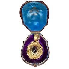 Victorian Garnet 20KT Gold Enamel Locket w Orig Box  x15
