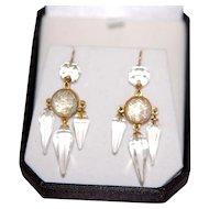 Victorian Rock Crystal 14K Chandelier Earrings
