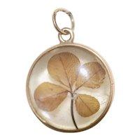 14K Victorian Antique Four Leaf Clover Convex Glass Pendant