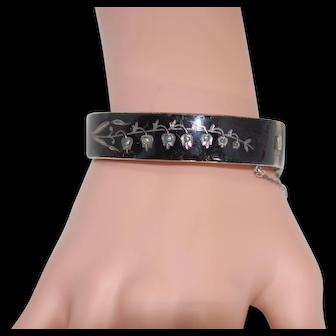 Victorian Enamel Mourning Seed Pearl Bangle Bracelet