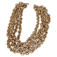 "Vintage Monet 5 Strand Gold Chain Necklace 22"""