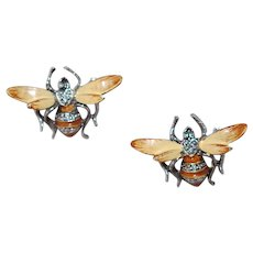 Pair Vintage Enamel Bee Bug Scatter Pins