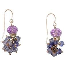 Estate Amethyst & Sapphire Color Dangle Earrings
