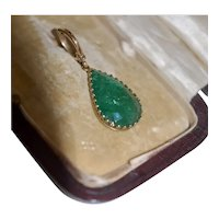 Antique 6-8 ct Emerald Pendant 15-18ct Mounting w Lg 14K Hinged Bale