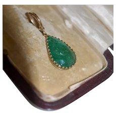 Antique 6-8 ct Emerald Pendant 15-18ct Mounting w Lg 14K Hinged Bale