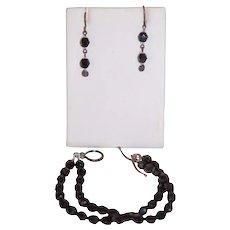 French Jet Set of Earrings & 2 Strand Bracelet