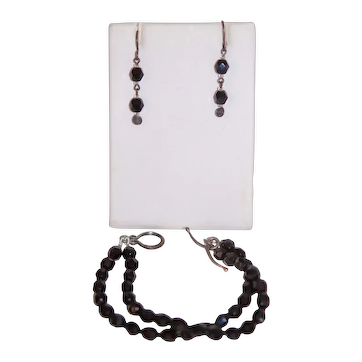 French Jet Set of Earrings & 2 Strand Bracelet