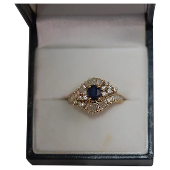Vintage 14K YG Sapphire Diamond Ring