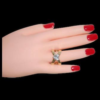 Vintage 14K Heart Shape Diamonique Ring Sz8