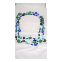 Vintage Faceted Plastic Bead Long Necklace