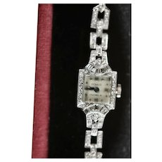 Overhauled Platinum ~2ctw Diamond Watch