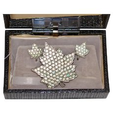 Rare c1947 Anthony Pale Grn Rhinestone Maple Leaf Pin Earring Set