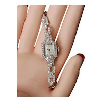 Platinum ~2ctw Diamond Bracelet Watch Reconditioned