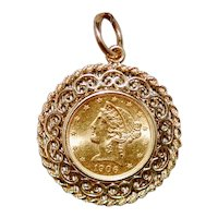 1906 Liberty Head 22K Gold Coin w Removable 14K Frame