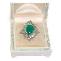 Art Deco style Chrysoprase Sterling Ring Sz~8