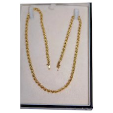 "14K YG 18"" Rope Chain Necklace 4mm Wide w Slide Catch"