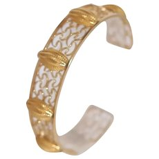 Estate Gold Tone Wire Work Cuff Bracelet