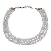 Milk Glass 3 Strand Necklace w Aurora Borealis Spray
