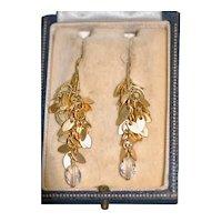"""Vintage 2"""" GF Dangle Earrings w Crystal"""