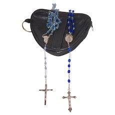 Soft Leather Pouch w 2 Blue Crystal Rosary