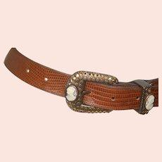 "Vintage 1"" Wide Leather Belt w Cameo & Crystal"