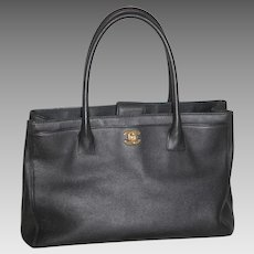 2a43531f2d32 Chanel Tote Shoulder Bag Black Caviar Purse Handbag