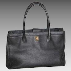 Chanel Tote Shoulder Bag Black Caviar Purse Handbag