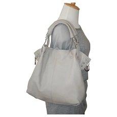 Vintage Grey Leather Tote Handbag