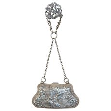 CLEARANCE: Antique Sterling Silver Embossed Coin Purse