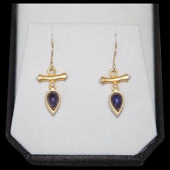 Sapphire Garnet Glass Cabocheon Reversible Earrings