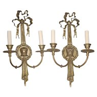 "Pair Bronze Finish 19"" Electrified Wall Sconces"