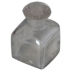Vict c1850 Glass Travel Bottle w Decorative Glass Stopper