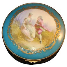 Napol III French Hand Pt Gold Gilt Porc Box Signed c1850-73