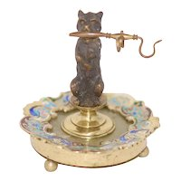 cNap III Ant Champleve Bronze Dog Marble Ring Stand