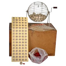 Vintage c1930 Complete Wood Box Bingo Caged Set