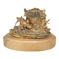 Antique Bronze Guilded Ink Well w Line Marble Base