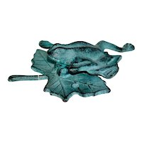 Vintage Brass Verdegris Frog Door Knocker