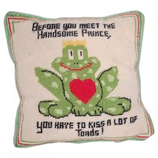 "Handmade ""Toad/Prince"" Needlepoint Pillow"