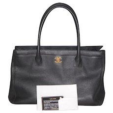 Chanel Cerf Hand Bag Black Caviar Purse Orig Box SRP ~$3500