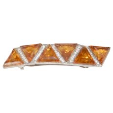 Beautiful Faceted Amber Glass Rhinestone Hair Clip
