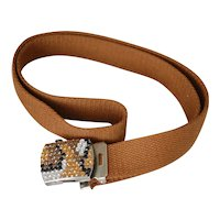 Adjustable Belt w Rhinestone Buckle