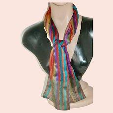 Vintage Japanese Silk Scarf w Metallic Thread; Like New